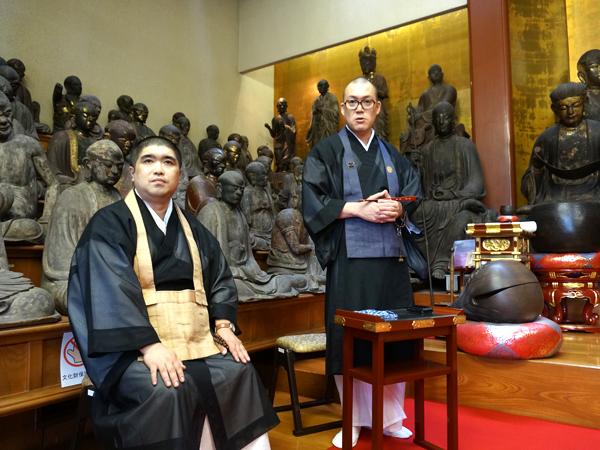 hasunoha井上広法代表と、五百羅漢寺佐山拓郎住職