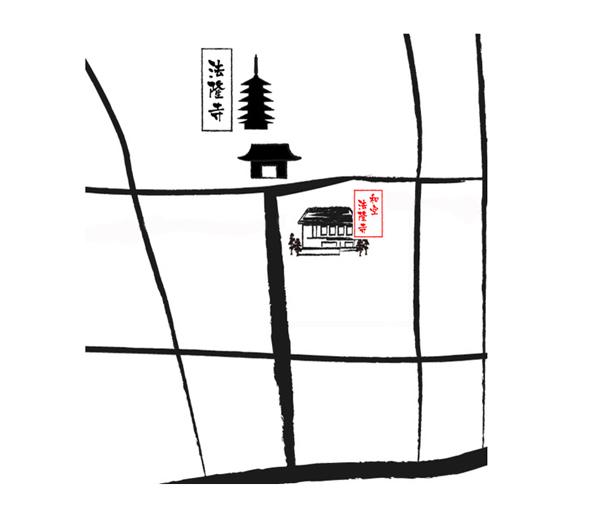 門前宿 和空法隆寺の地図